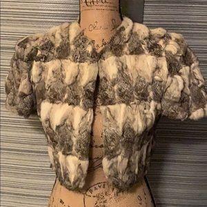 Vintage Petite rabbit fur jacket short sleeve XS